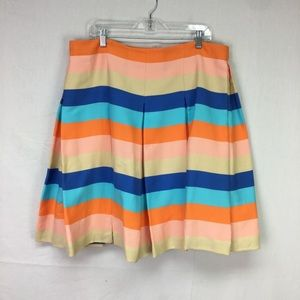 Akris Punto Multi Color Striped Pleat Skirt